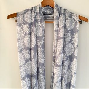 Dove Grey & White Cotton Floral Infinity Scarf